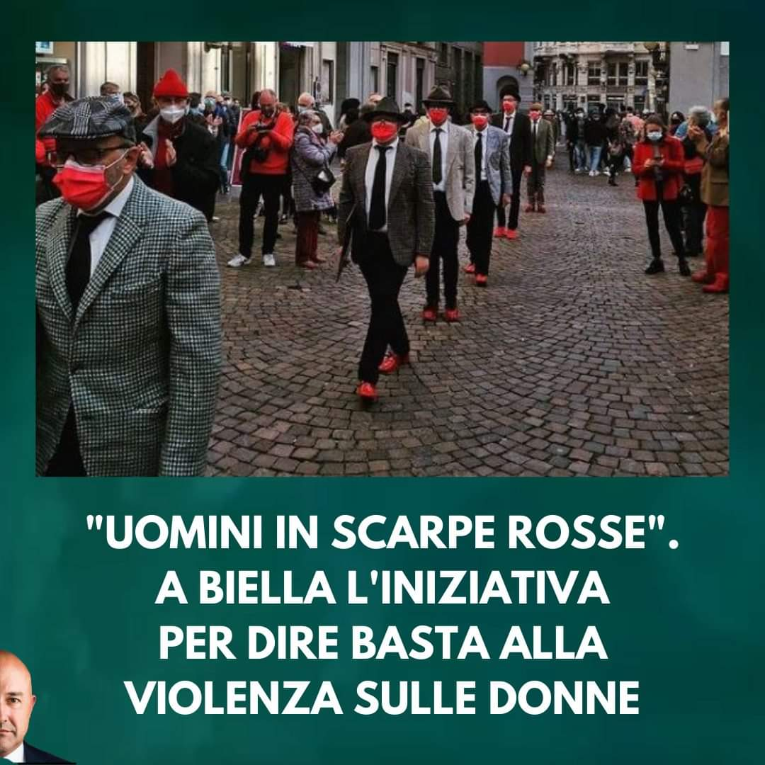 Biella, uomini in scarpe rosse per dire 'basta' alla violenza sulle donne